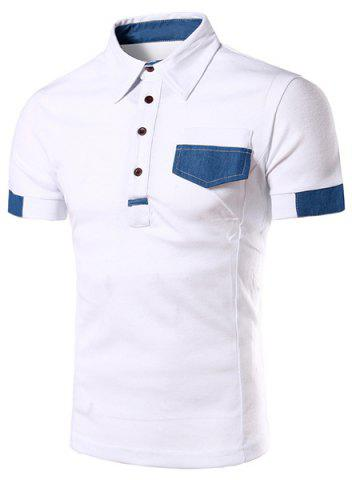 Discount Denim Spliced Color Block Turn-down Collar Short Sleeves Polo T-Shirt For Men WHITE 2XL
