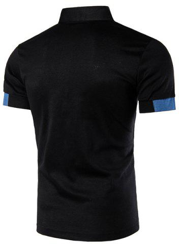 Discount Denim Spliced Color Block Turn-down Collar Short Sleeves Polo T-Shirt For Men - L BLACK Mobile