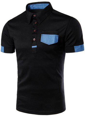 Online Denim Spliced Color Block Turn-down Collar Short Sleeves Polo T-Shirt For Men BLACK L