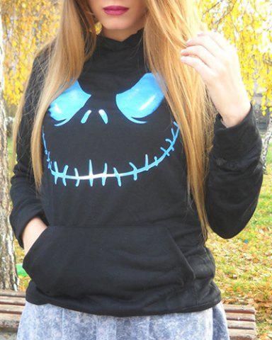Fashion Active Black Hooded Skull Printed Pullover Hoodie For Women BLACK S