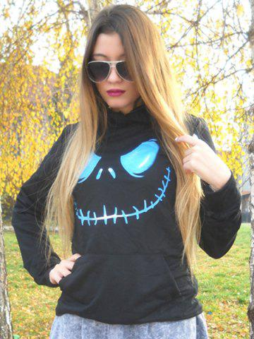 Store Active Black Hooded Skull Printed Pullover Hoodie For Women - L BLACK Mobile