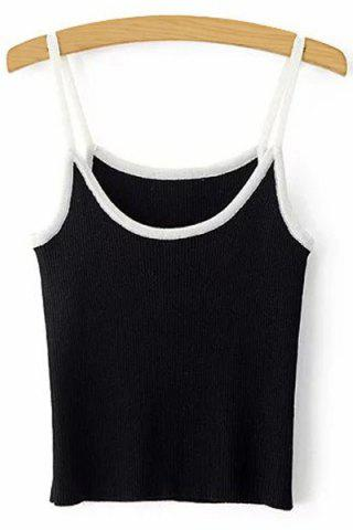 Store Chic Spaghetti Strap Contrasting Piped Women's Knit Tank Top
