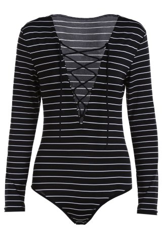 Outfit Fashion Plunging Neck Long Sleeve Striped Lace Up Bodysuit