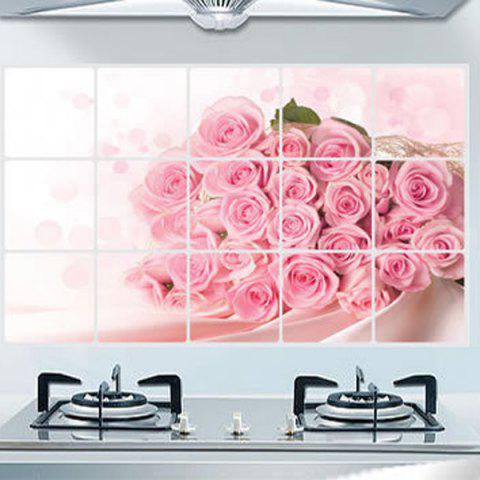Discount Fashion Rose Pattern Heat Resisting Kitchen Decoration Wall Stickers PINK
