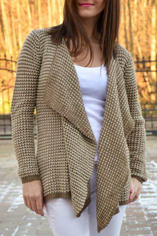 Discount Casual Collarless Long Sleeve Knitted Cardigan For Women KHAKI L