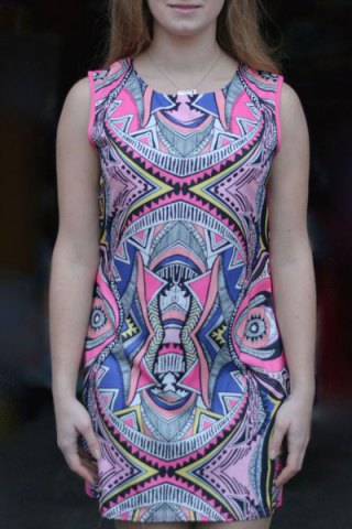 Cheap Vintage Geometric Printed Bodycon Mini Dress COLORMIX S
