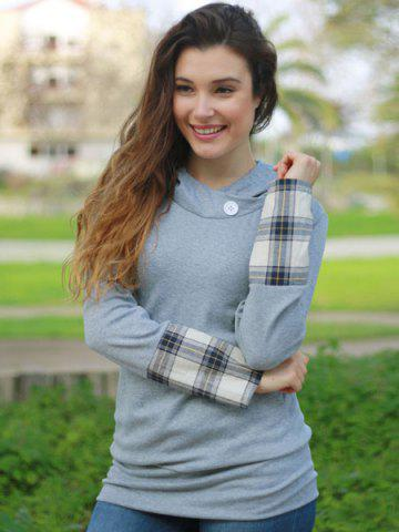 Outfits Stylish Hooded Long Sleeve Spliced Plaid Women's Hoodie - M DEEP GRAY Mobile
