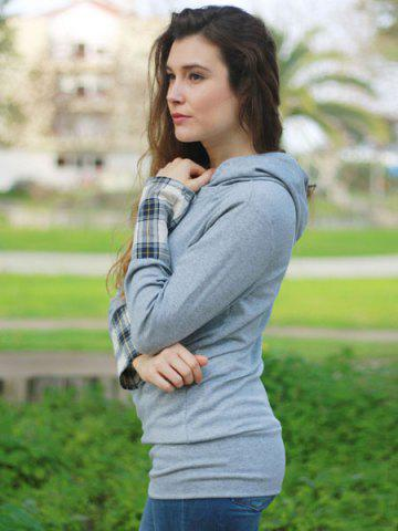 Sale Stylish Hooded Long Sleeve Spliced Plaid Women's Hoodie - L DEEP GRAY Mobile