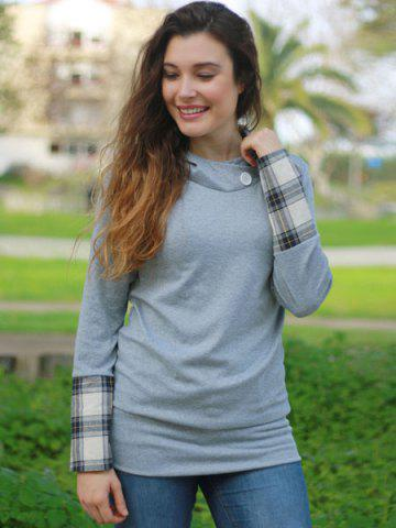 Outfits Stylish Hooded Long Sleeve Spliced Plaid Women's Hoodie - L DEEP GRAY Mobile