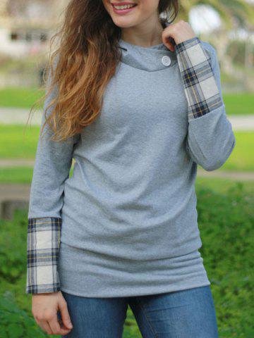 Discount Stylish Hooded Long Sleeve Spliced Plaid Women's Hoodie DEEP GRAY L