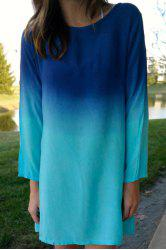 Stylish Scoop Collar Long Sleeve Ombre Color Women's Dress