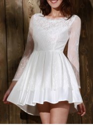 Long Sleeve Backless Skater Lace Graduation Dress - WHITE