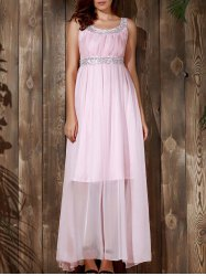 Sequin Chiffon Long Glitter Prom Evening Maxi Dress - PINK