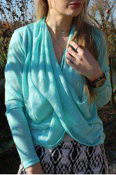 Stylish Solid Color Long Sleeve Cross Pullover Sweater For Women - AZURE L