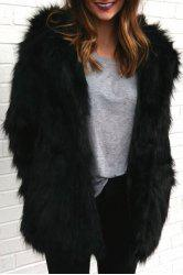Hooded Faux Fur Bear Coat - BLACK