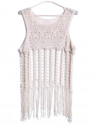 Sexy Scoop Neck manches Cut Out Glands Tank Top Solid Color pour les femmes - Blanc Cassé