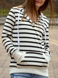 Fashionable Long Sleeves Striped Hoodie For Women - STRIPE S