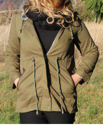 Stylish Hooded Long Sleeve Waist Drawstring Spliced Women's Trench Coat