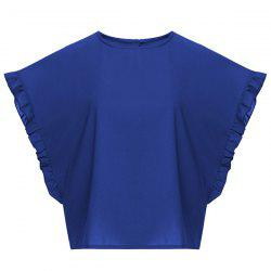 Stylish Jewel Neck Batwing Sleeve Ruffled Chiffon T-Shirt For Women -