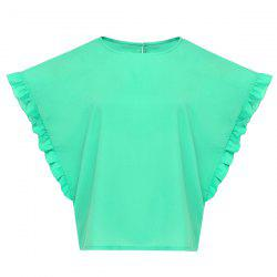 Stylish Jewel Neck Batwing Sleeve Ruffled Chiffon T-Shirt For Women