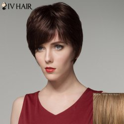 Women's Fashion Inclined Bang Short Human Hair Wig -