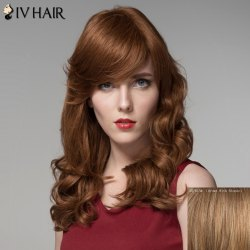 Fashion Inclined Bang Curly Long Human Hair Wig For Women - BROWN WITH BLONDE