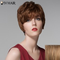 Fluffy Inclined Bang Human Hair Short Wig For Women -
