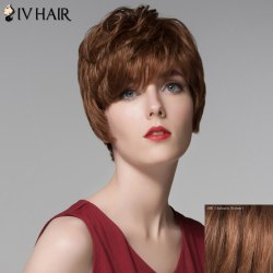 Fluffy Inclined Bang Human Hair Short Wig For Women - AUBURN BROWN #30