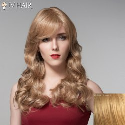 Ladylike Side Bang Human Hair Long Wavy Wig For Women - BLONDE