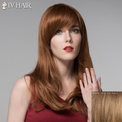 Fluffy Side Bang Human Hair Long Curly Wig For Women -