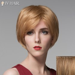 Fluffy Side Bang Human Hair Short Straight Wig For Women -