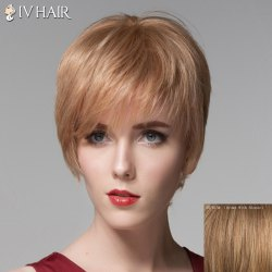 Fluffy Human Hair Side Bang Short Straight Wig For Women -