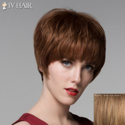 Trendy Human Hair Full Bang Short Straight Wig For Women -