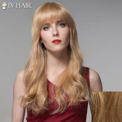 Trendy Full Bang Human Hair Long Curly Wig For Women - LIGHT BLONDE 18/27#