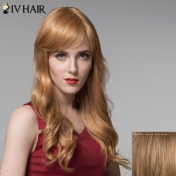 Fashion Inclined Bang Human Hair Curly Long Wig For Women -