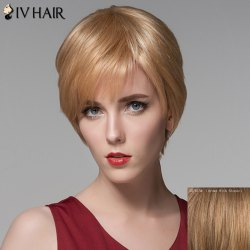 Fashion Side Bang Human Hair Straight Short Wig For Women -