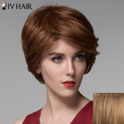 Fashion Side Bang Human Hair Curly Short Wig For Women -