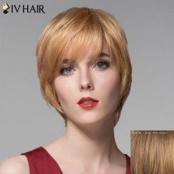 Ladylike Side Bang Human Hair Straight Short Wig For Women -