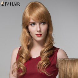 Ladylike Side Bang Human Hair Curly Long Wig For Women -