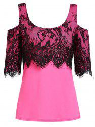 Stylish Scoop Neck Short Sleeve Lace Spliced Blouse For Women -