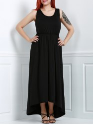 U-Neck Asymmetric Plus Size High Low Dress - BLACK
