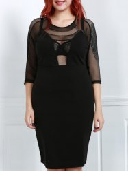 Plus Size Midi Scoop Neck Mesh Spliced Fitted Dress