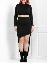 Sexy Stand Collar Long Sleeve Crop Top and Irregular Asymmetric Skirt Twinset For Women -
