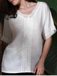 Graceful V Neck Half Sleeve See-Through White Laciness Blouse For Women -