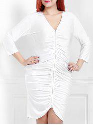 Sexy Plunging Neck White 3/4 Sleeve Dress For Women -