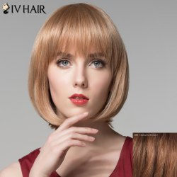 Attractive Full Bang Capless Bob Style Straight Short Human Hair Wig For Women -
