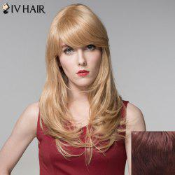 Charming Inclined Bang Capless Shaggy Wavy Long Human Hair Wig For Women -