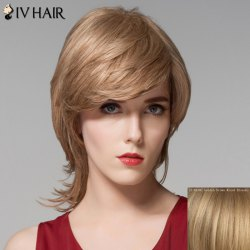 Stunning Medium Layered Fluffy Wavy Inclined Bang Capless Human Hair Wig For Women - GOLDEN BROWN WITH BLONDE