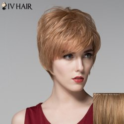 Fluffy Natural Straight Capless Noble Short Side Bang Human Hair Wig For Women -