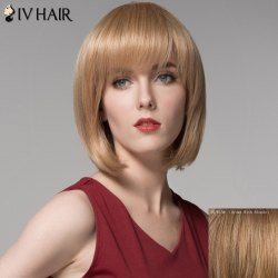Bob Style Straight Capless Elegant Side Bang Short Human Hair Wig For Women -